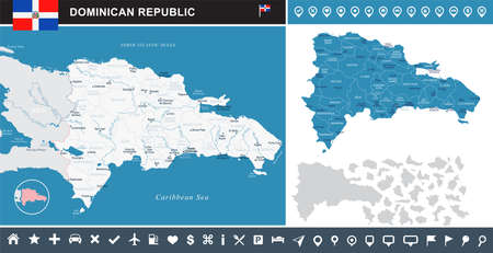 Dominican Republic map and flag - High Detailed Vector Illustration