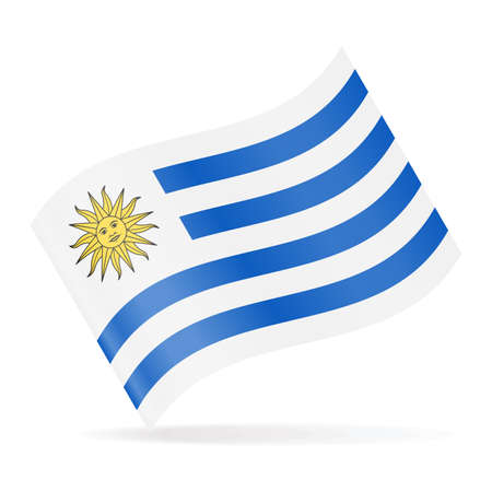 Uruguay Flag Vector Waving Icon - Illustration