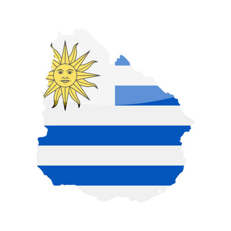 Uruguay Flag Country Contour Vector Icon - Illustration