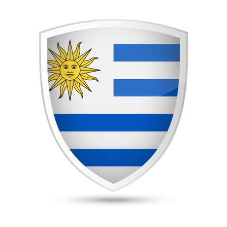 Uruguay Flag Vector Shield Icon - Illustration