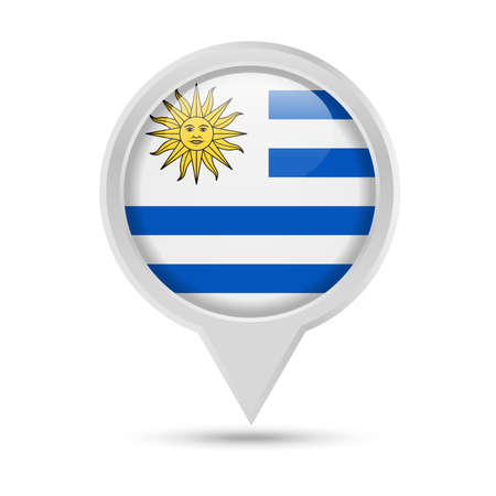 Uruguay Flag Round Pin Vector Icon - Illustration