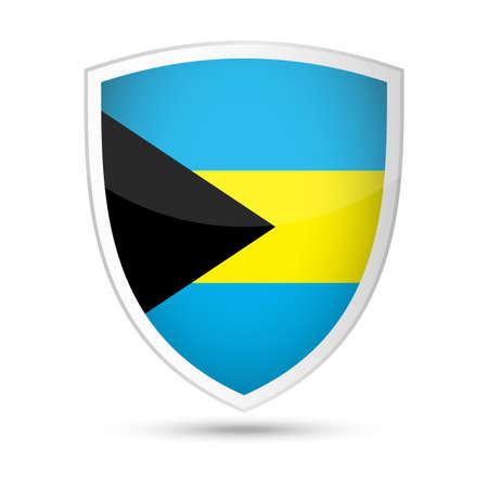 Bahamas Flag Vector Shield Icon - Illustration