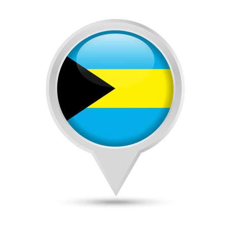 Bahamas Flag Round Pin Vector Icon - Illustration