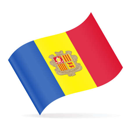 Andorra Flag Vector Waving Icon - Illustration Reklamní fotografie - 93483508