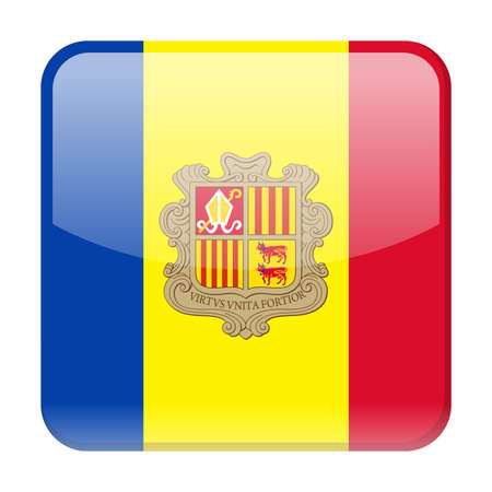 Andorra Flag Vector Square Icon - Illustration