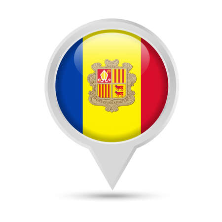 Andorra Flag Round Pin Vector Icon - Illustration