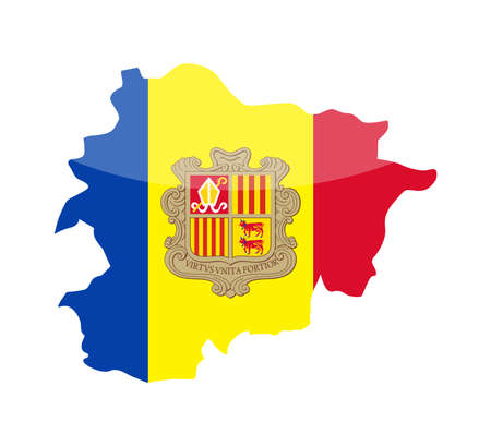 Andorra Flag Country Contour Vector Icon - Illustration