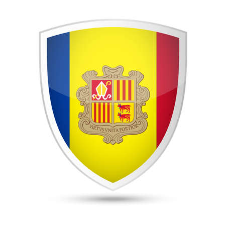 Andorra Flag Vector Shield Icon - Illustration