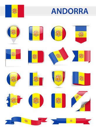 Andorra Flag Set - Vector Illustration