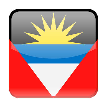 Antigua and Barbuda Flag Vector Square Icon - Illustration