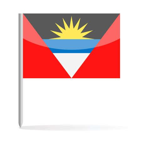 Antigua and Barbuda Flag Pin Vector Icon - Illustration