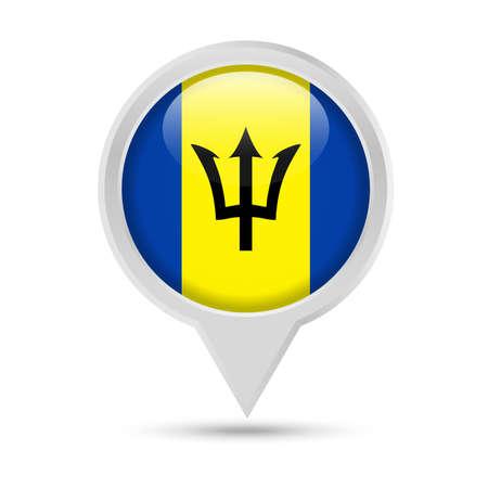 Barbados Flag Round Pin Vector Icon Illustration
