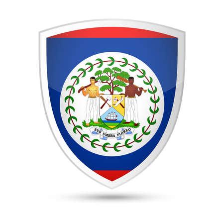 Belize Flag Vector Shield Icon - Illustration Illustration