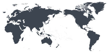 World Map Outline Contour Silhouette - Asia in Center - vector