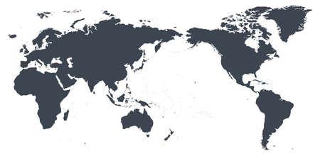 Weltkarte Umriss Kontur Silhouette - Asien im Zentrum - Vektor Vektorgrafik
