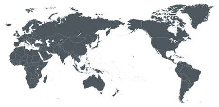 Mapa świata zarys konturu sylwetka - Azja w centrum - ilustracji wektorowych.