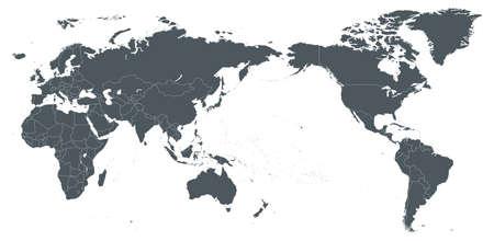 Weltkarte Umriss Kontur Silhouette - Asien in der Mitte - Vektor-Illustration Standard-Bild - 93609520