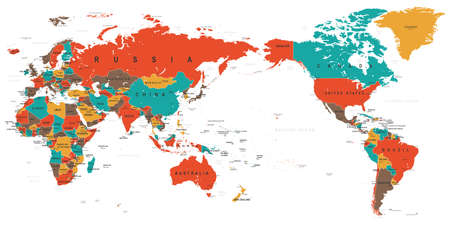 World Map Color Detailed - Asia in Center - vector