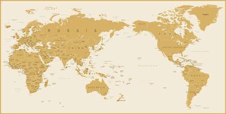 World Map Golden Detailed - Asia in Center - vector Illustration