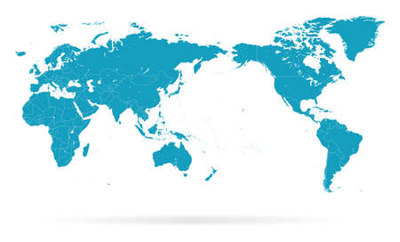 Wereldkaart overzicht contour silhouet - Azië in centrum - vector Stock Illustratie