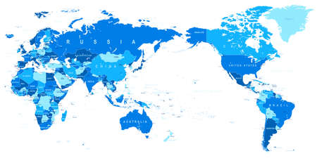 World map blue detailed Asia in Center vector.