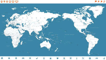 World Map White Blue Detailead and Icons - Asia in Center - vector