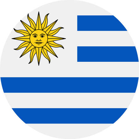 Uruguay Flag Vector Round Flat Icon - Illustration