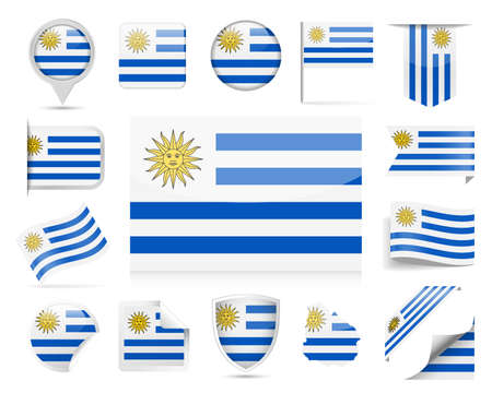 Uruguay Flag Set - Vector Illustration 向量圖像