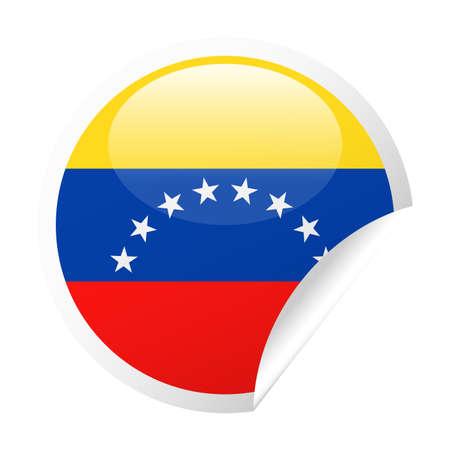 Venezuela Flag Vector Round Corner Paper Icon - Illustration
