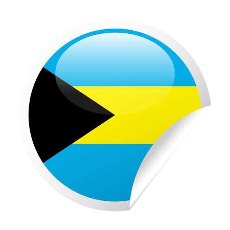 Bahamas Flag Vector Round Corner Paper Icon - Illustration Illustration