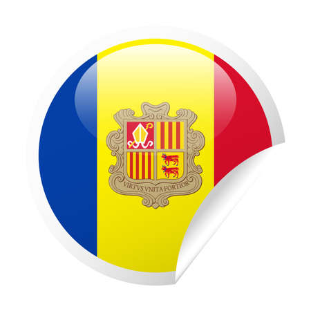 Andorra Flag Vector Round Corner Paper Icon - Illustration.