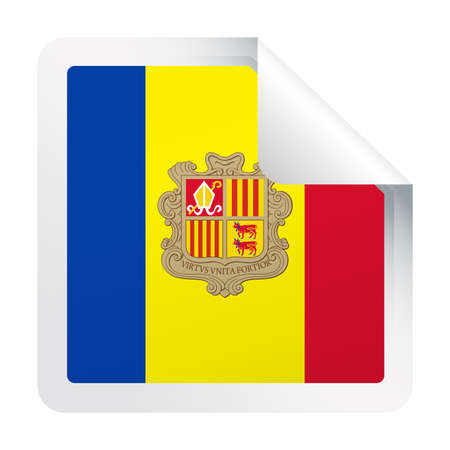 Andorra Flag Vector Square Corner Paper Icon - Illustration. Ilustrace