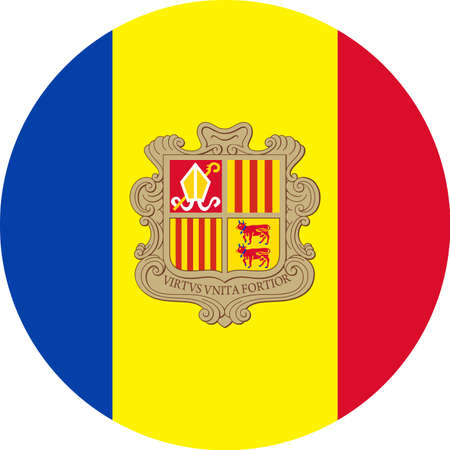 Andorra Flag Vector Round Flat Icon - Illustration