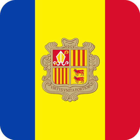Andorra Flag Vector Square Flat Icon - Illustration