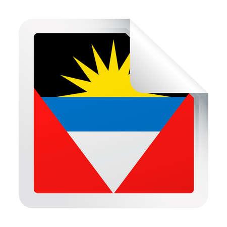 Antigua and Barbuda Flag Vector Square Corner Paper Icon - Illustration