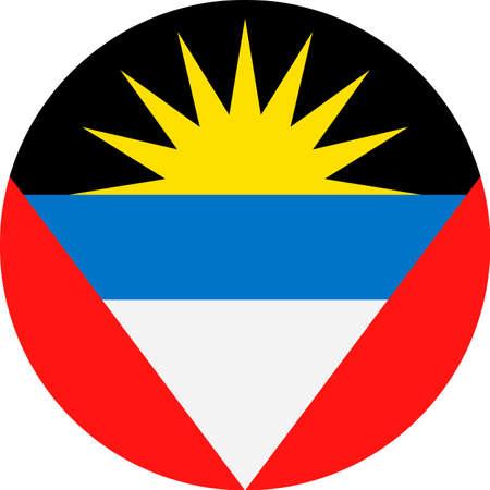 Antigua and Barbuda Flag Vector Round Flat Icon - Illustration