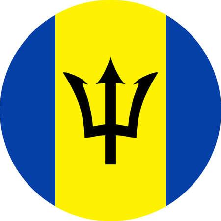 Barbados Flag Vector Round Flat Icon - Illustration Illustration