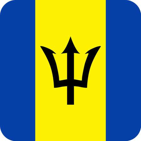 Barbados Flag Vector Square Flat Icon - Illustration