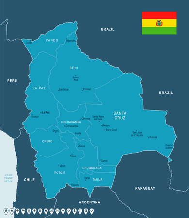 Bolivia map and flag - High Detailed Vector Illustration