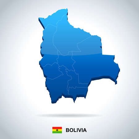 Bolivia map and flag high detailed vector illustration.