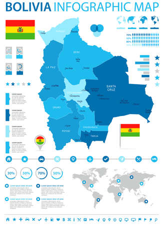 Bolivia infographic map and flag high detailed vector illustration. Illustration