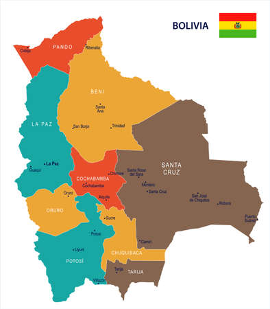 Bolivia map and flag - High Detailed Vector Illustration.