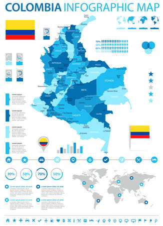Colombia infographic map and flag high detailed vector illustration.
