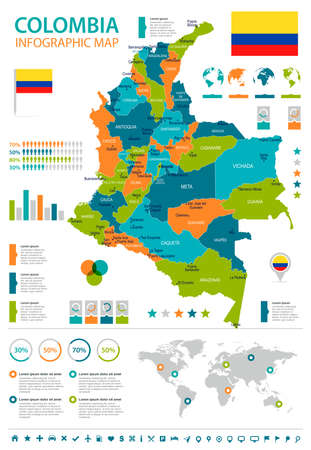 Colombia infographic map and flag - High Detailed Vector Illustration
