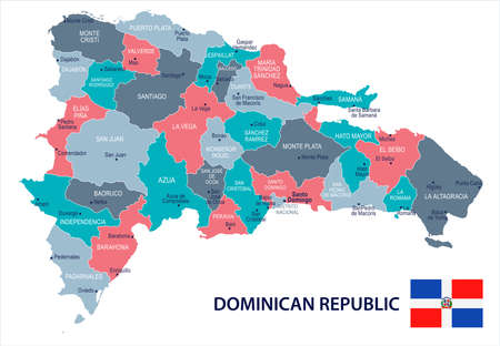 Dominican Republic map and flag high detailed vector illustration.