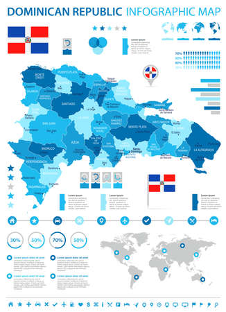 Dominican Republic infographic map and flag - High Detailed Vector Illustration Illustration
