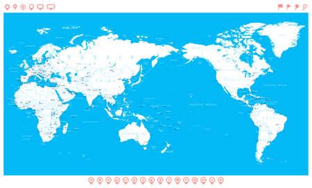 Mapa del mundo globos continentes iconos de navegacin world map white blue asia in center vector gumiabroncs Choice Image