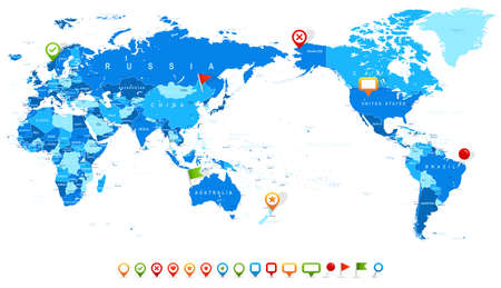World Map Blue and Icons - Asia in Center - vector
