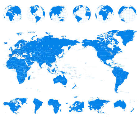 World Map Blue and Globes Asia in Center vector Illustration