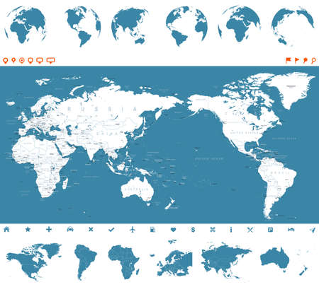 World map blue and globes, Asia in center vector.
